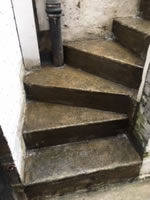 AH-25 Liquid Waterproof System applied to commercial steps in Clapham BEFORE
